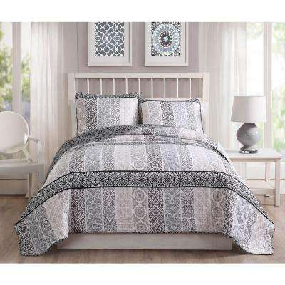 Kylie 3-Piece Taupe/Gray Reversible Queen Quilt Set