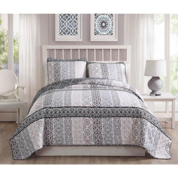 Kylie 3-Piece Taupe/Gray Reversible Queen Quilt Set YMZ007000