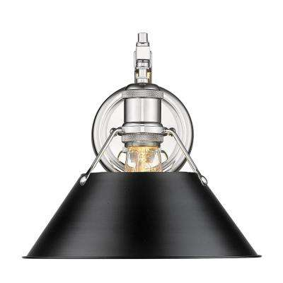 Orwell 1-Light Chrome with Black Shade Wall Sconce