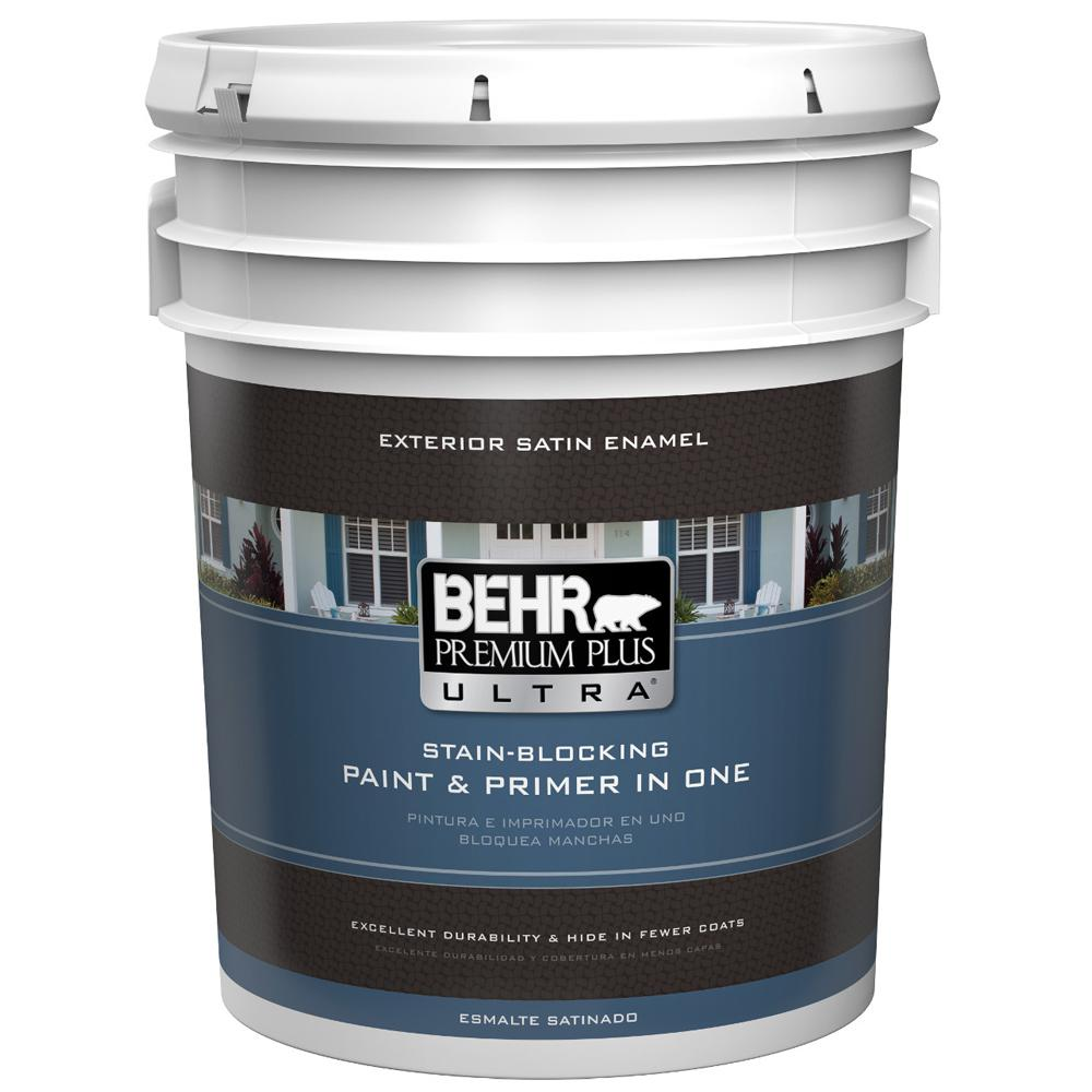 behr premium plus ultra 5 gal ultra pure white satin enamel exterior paint