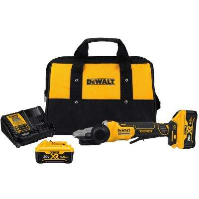 20-Volt Max Lithium Ion Cordless 5 in. Flathead Small Angle Grinder Kit with Kickback Brake