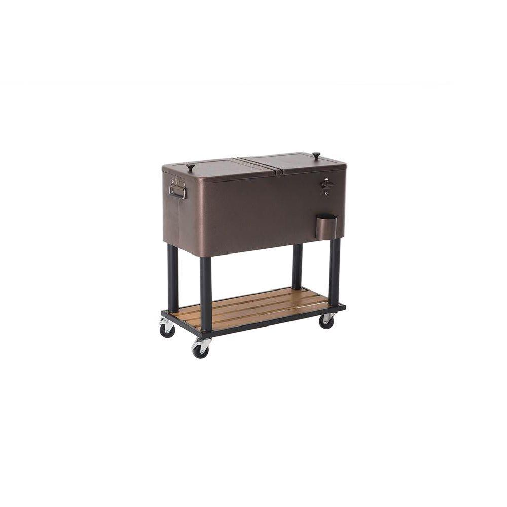 80 Qt 4 Wheeled Hammered Copper Cooler With Bottle Opener L Permasteel 80  Qt Black Antique Furniture Style Rolling Patio Cooler