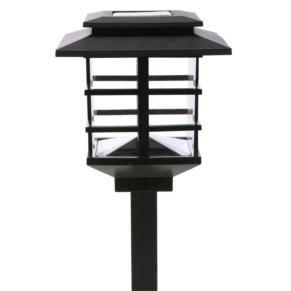 Hampton Bay 10 Light Plastic Black Solar Led Garden Light Set Hd23873bk10 The Home Depot