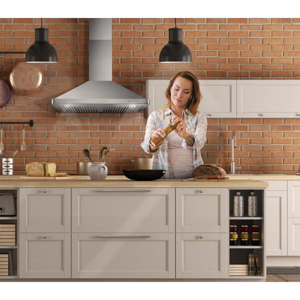 Cosmo 30 In Ducted Wall Mount Range Hood In Stainless Steel With Led Lighting And Permanent Filters Cos 63175 The Home Depot
