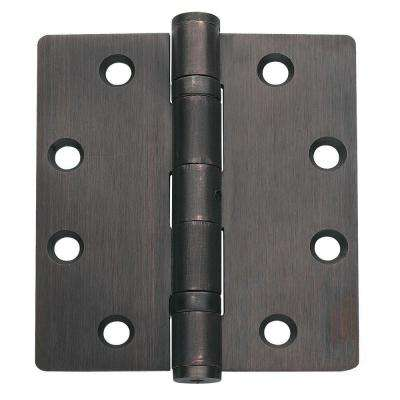 4.5 in. x 4 in. Oil-Rubbed Bronze Ball Bearing Non-Removable Steel Hinge with 5/32 in. Radius (Set of 3)