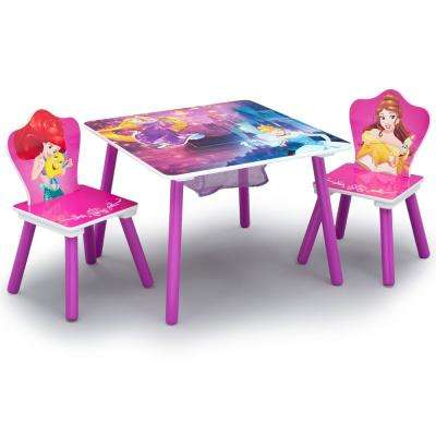 Disney Princess 3-Piece Multi-Color Table and Chair Set with Storage