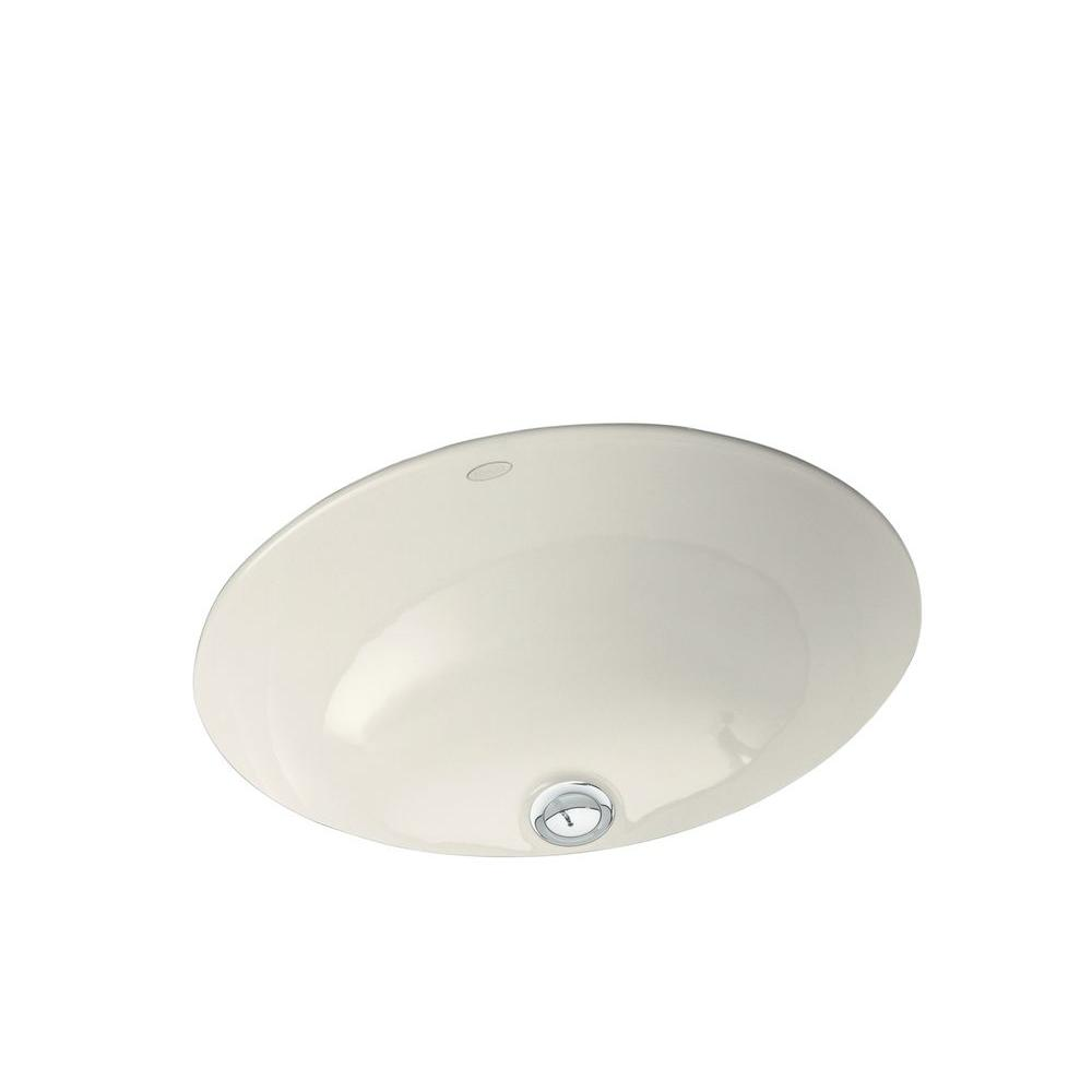 KOHLER Caxton Vitreous China Undermount Bathroom Sink in Biscuit