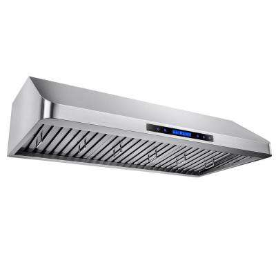 42 in. Kitchen Dual Motor Under Cabinet Range Hood in Stainless Steel with Remote and Touch Panel Control