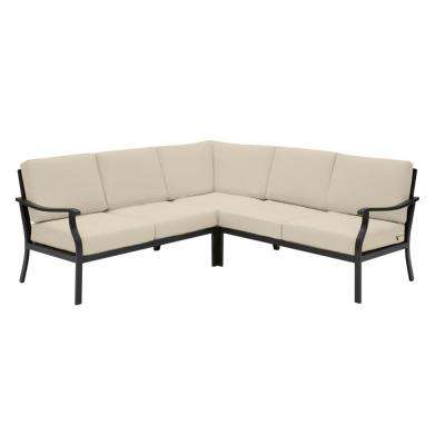 Riley 3-Piece Black Steel Outdoor Patio Sectional Sofa with CushionGuard Putty Tan Cushions