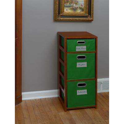 Flip Flop Cherry and Green 3-Shelf Folding Bookcase and Storage Tote Set