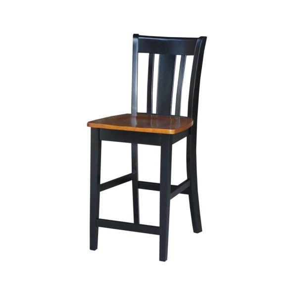 International Concepts San Remo 24 in. Black and Cherry Bar Stool