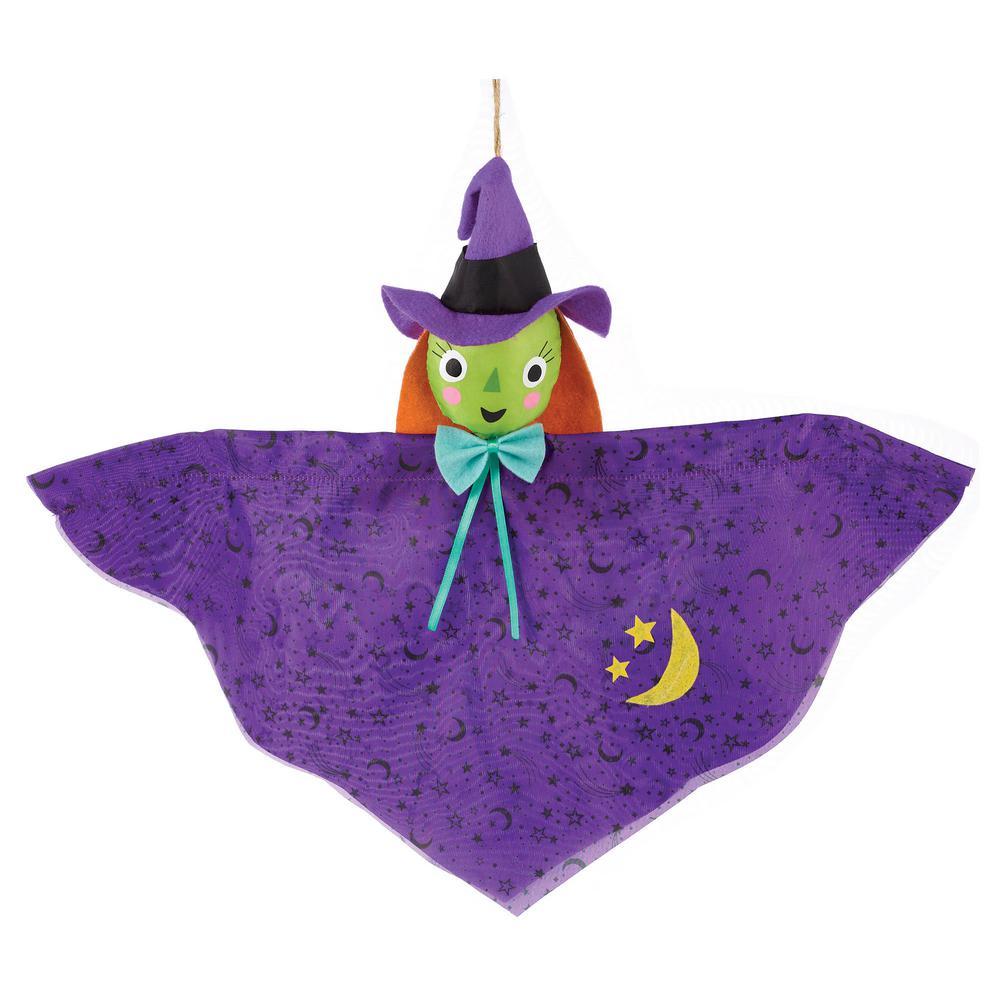 24in Halloween Spooky Hanging Black Spider W// 30 Purple Light Yard Display Prop