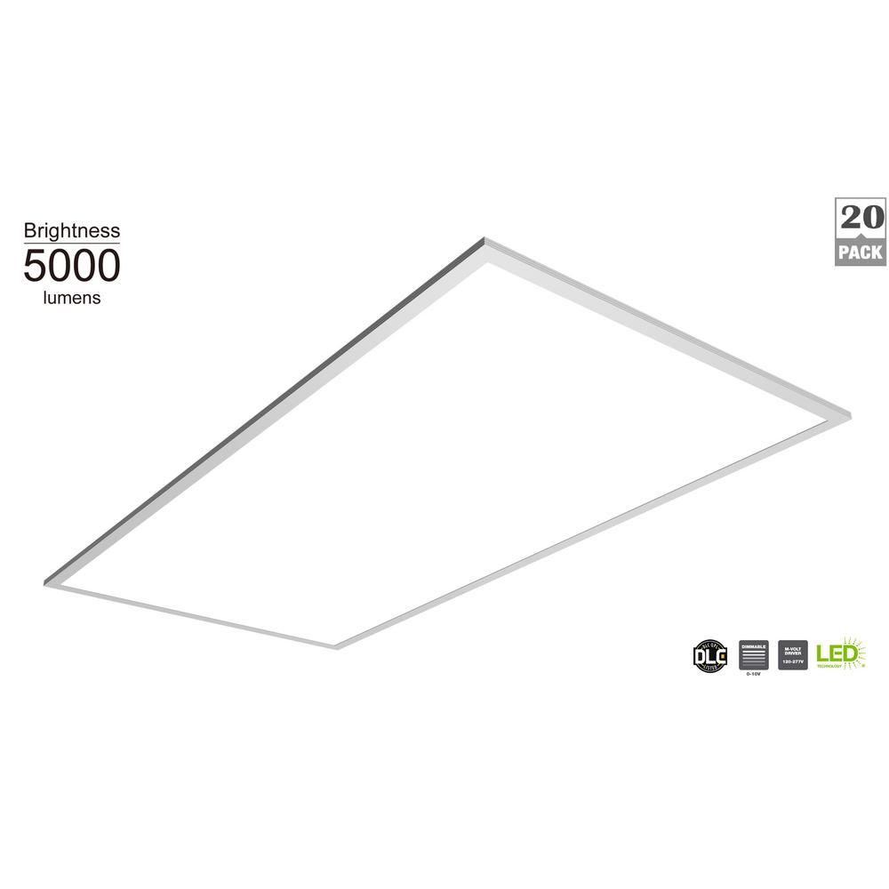 Commercial Electric 5000 Lumen 2 ft. x 4 ft. White Integrated LED Flat Panel Troffer (20-Pack)