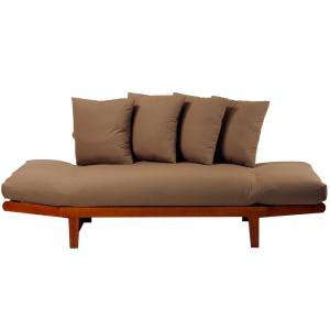 4 Casual Home Oak Frame And Khaki Fabric Lounger Sofa Bed