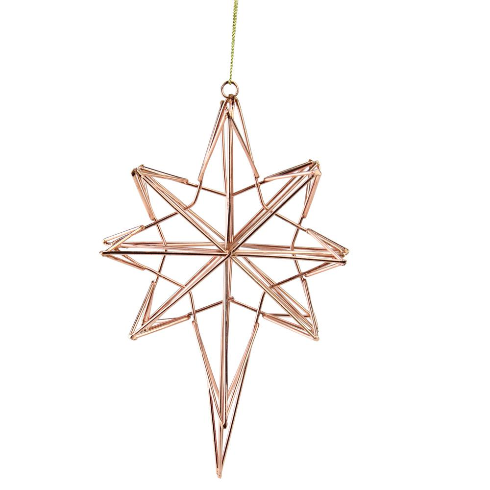 Northlight 6 75 In Rose Gold Geometric Wire 8 Point Star Christmas Ornament