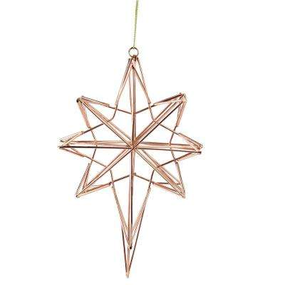 6.75 in. Rose Gold Geometric Wire 8-Point Star Christmas Ornament
