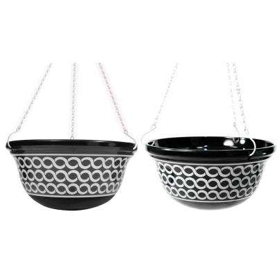 14 in. D Melamine Hanging Planter with Black and White Chain Pattern (2-Set)