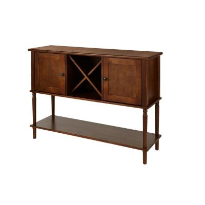 StyleWell Walnut Finish Wood Buffet Table with Storage (52.26 in. W x 35.10 in. H)