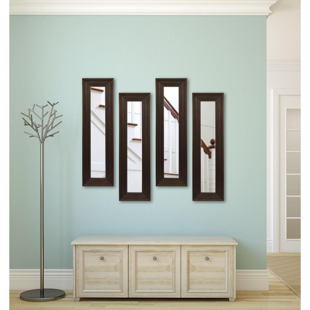 15.75 inch x 29.75 inch Barnwood Brown Vanity Mirror (Set of 4-Panels) by