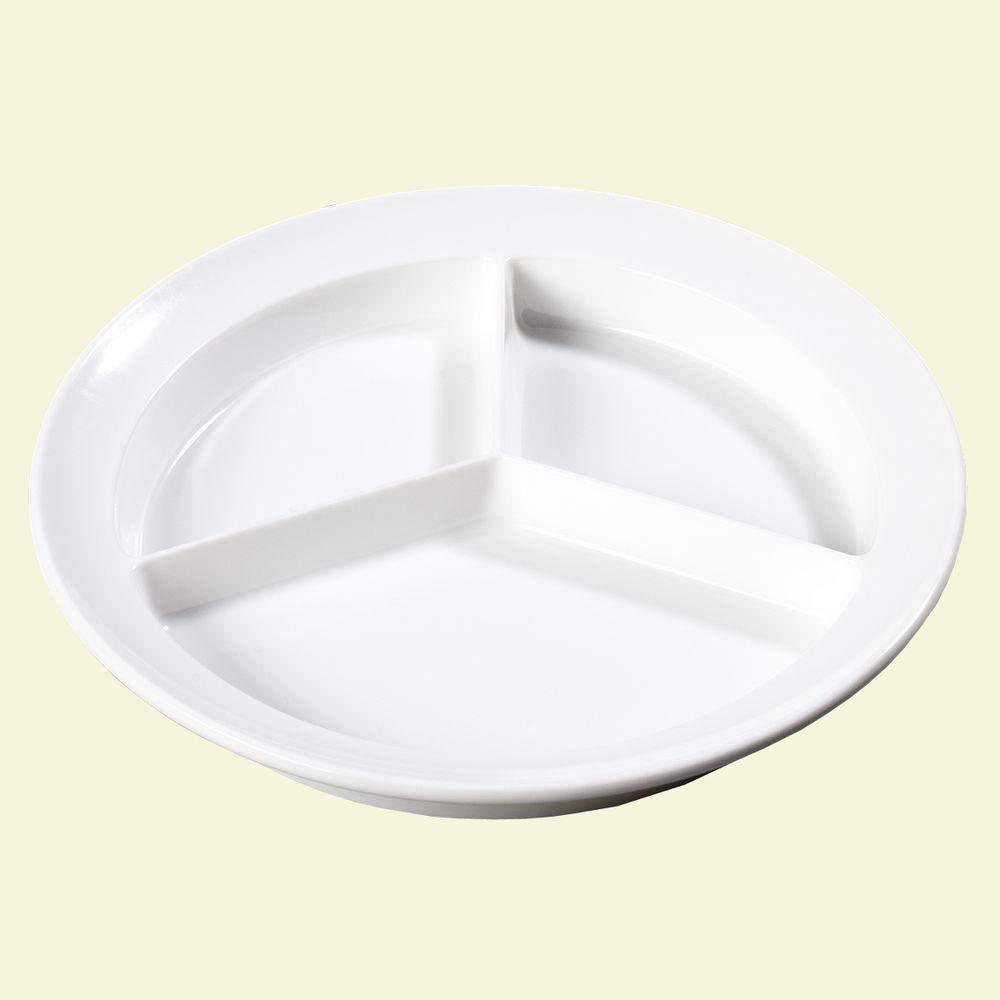 8.75 in. Diameter, 1.25 in. H Melamine Compartmented Plate in White
