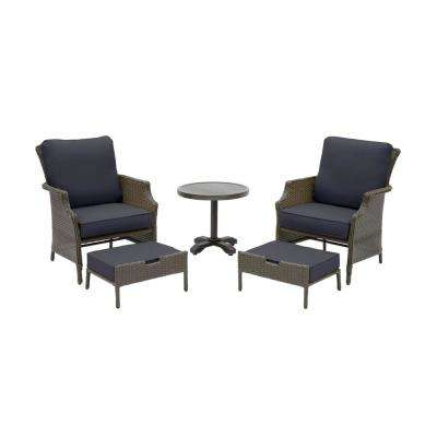 Grayson 5-Piece Ash Gray Wicker Outdoor Patio Small Space Seating Set with CushionGuard Midnight Navy Blue Cushions