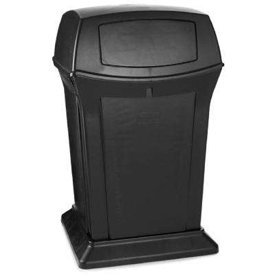 Black Decorative Outdoor Trash Can with Lid - Swing/Push - Outdoor - Trash Cans - Trash & Recycling - The Home Depot