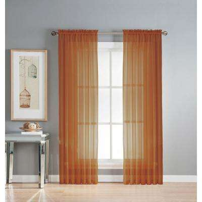 Sheer Diamond Sheer Voile Extra Wide 84 in. L Rod Pocket Curtain Panel Pair, Rust (Set of 2)