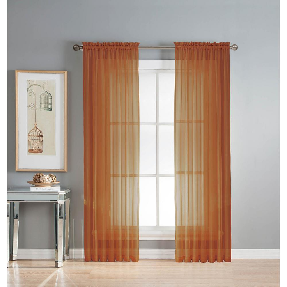 Sheer Diamond Voile Extra Wide 84 In L Rod Pocket Curtain Panel Pair Rust Set Of 2