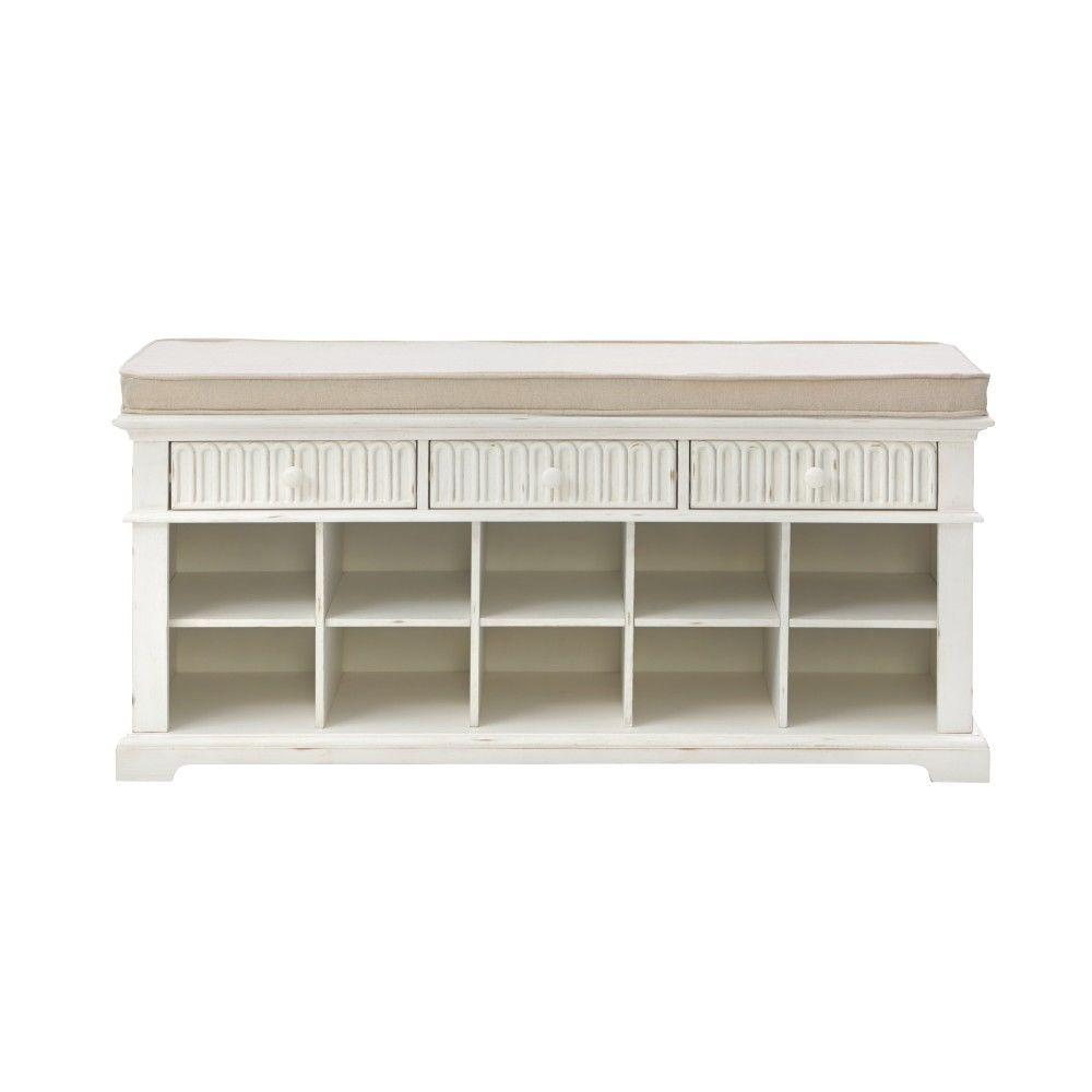 Home Decorators Collection Distressed White Bench