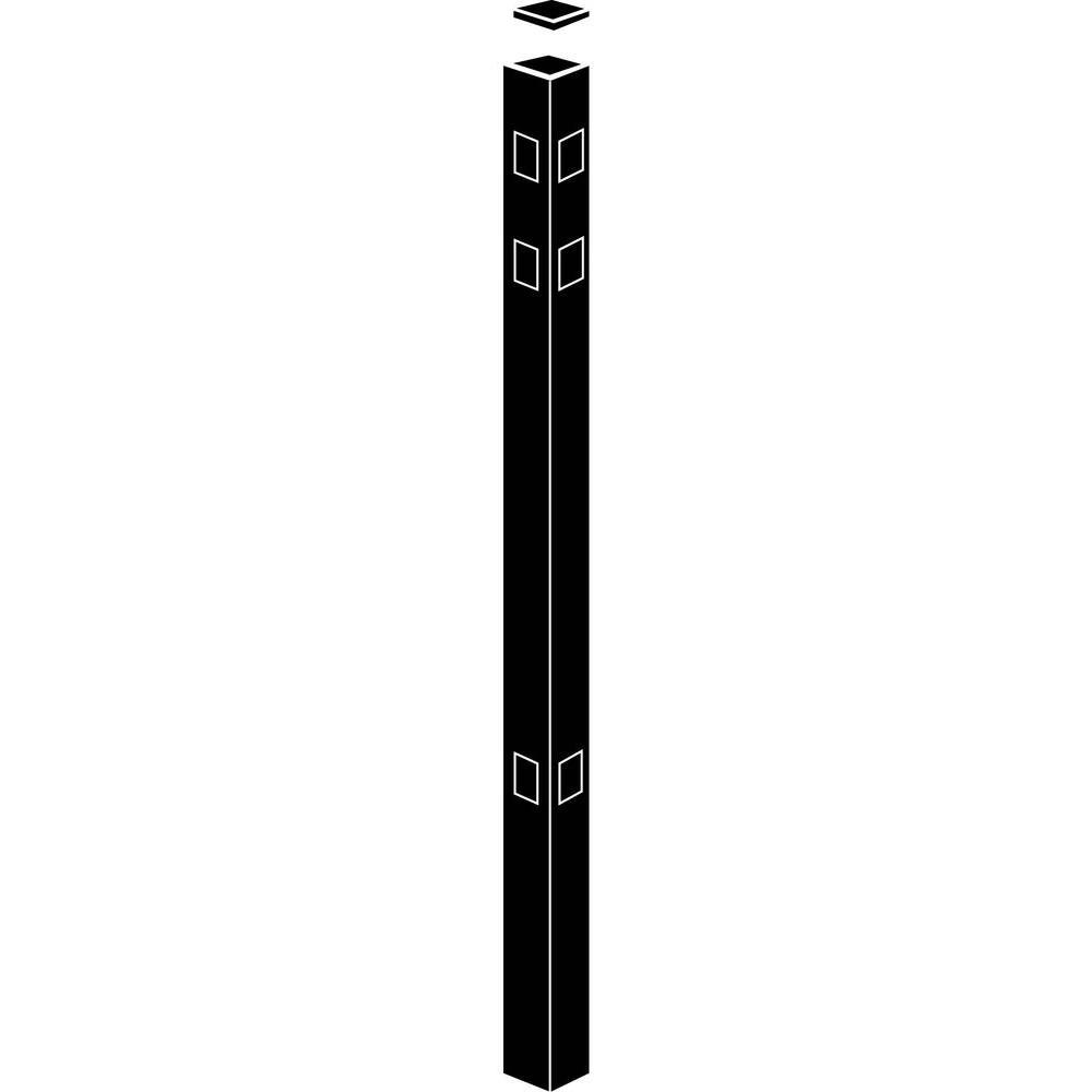 Allure Aluminum 2 in. x 2 in. x 82 in. Black Aluminum Corner Fence Post (1-Pack)