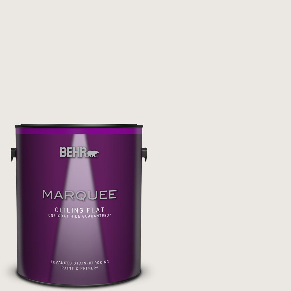 BEHR MARQUEE 1 gal. #MQ3-32 Cameo White One-Coat Hide Ceiling Flat Interior Paint and Primer in One