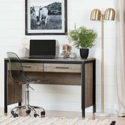 Munich Weathered Oak and Matte Black Desk