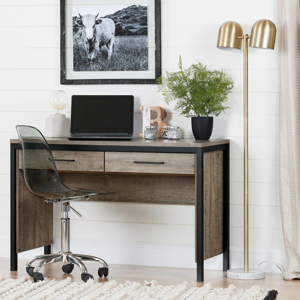 45.75 in. Weathered Oak Rectangular 2 -Drawer Writing Desk with Black Metal Base