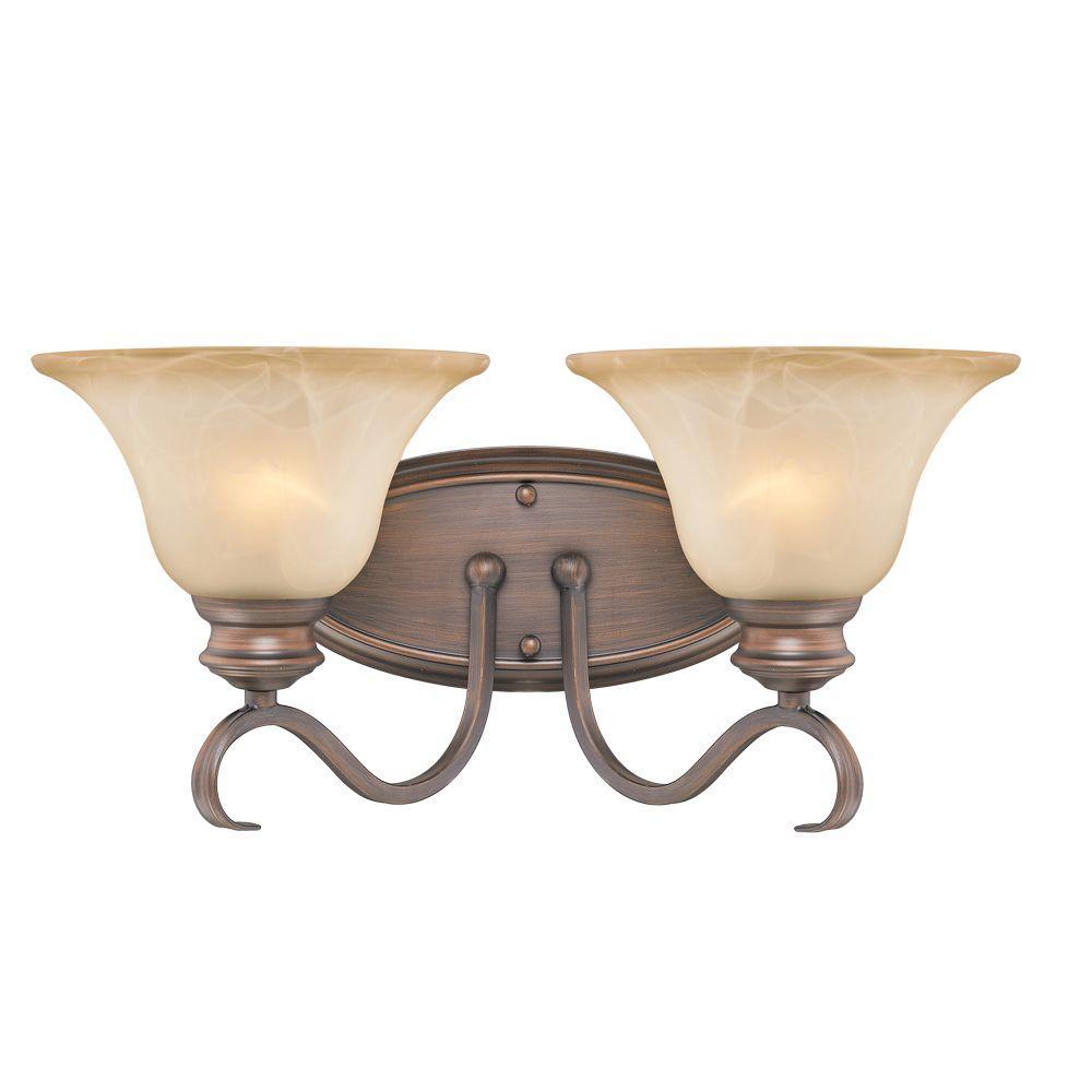 Lancaster Collection 2-Light Rubbed Bronze Bath Vanity Light