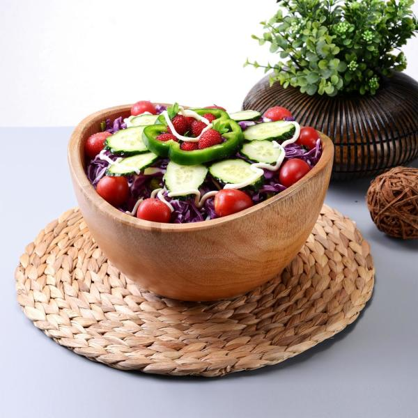 Villacera 10 In Handmade Mango Wood Salad Bowl And Decorative