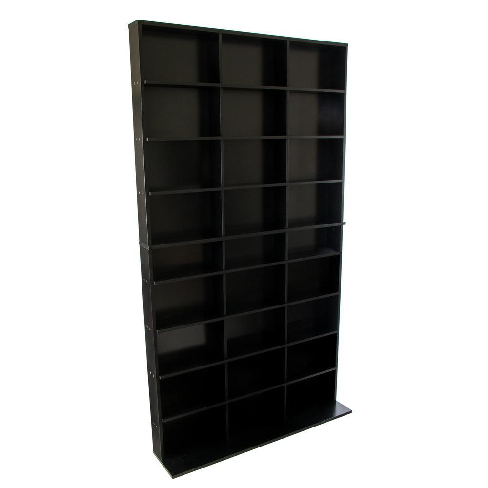 Elite Media Storage Cabinet New/Improved Large 837CD's/531DVD's/630 Blu-ray, Black