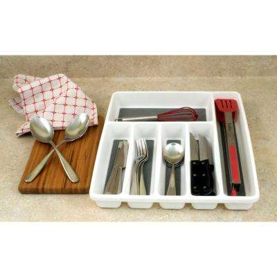 White Cutlery And Utensil Organizer With Non Slip Material