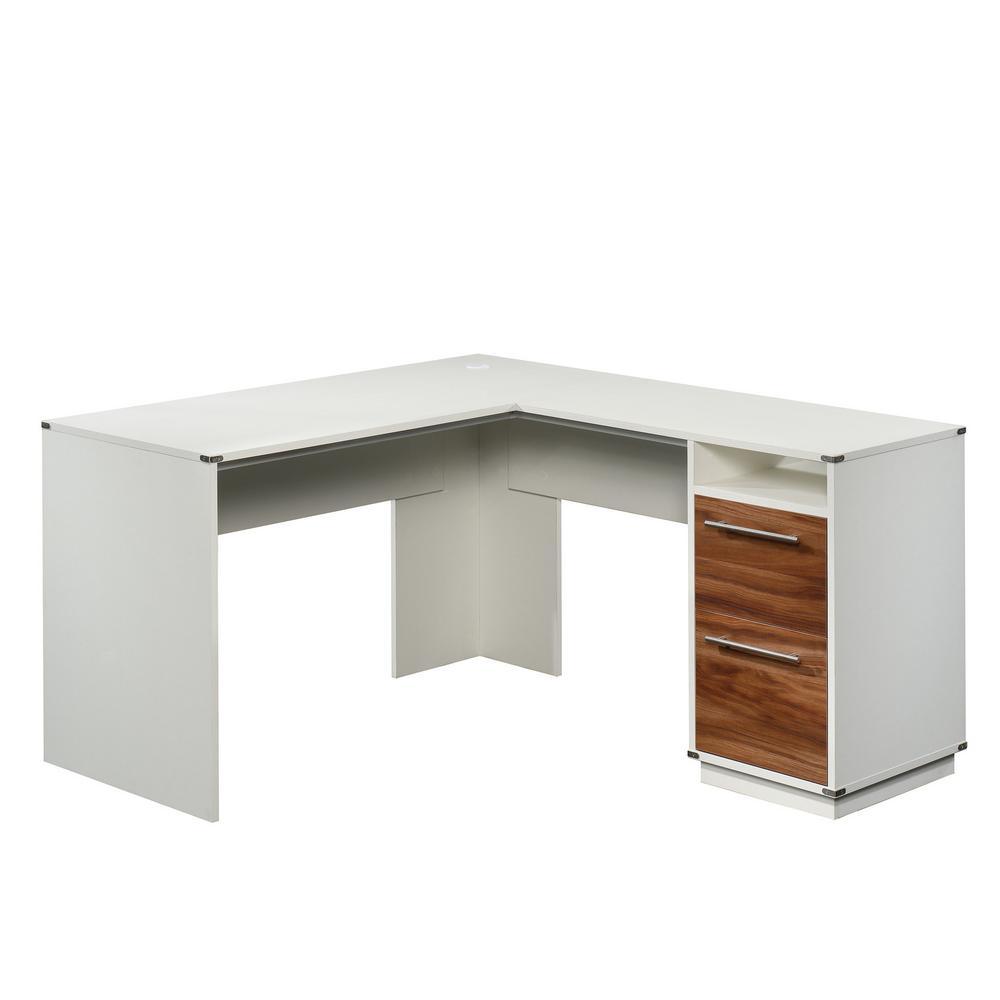 Vista Key 59 in. L-Shaped Pearl Oak with Blaze Acacia Engineered Wood 2-Drawer Desk