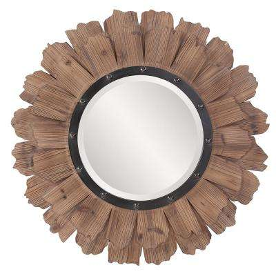 35 in. x 35 in. Layered Natural Wood Planks Framed Mirror