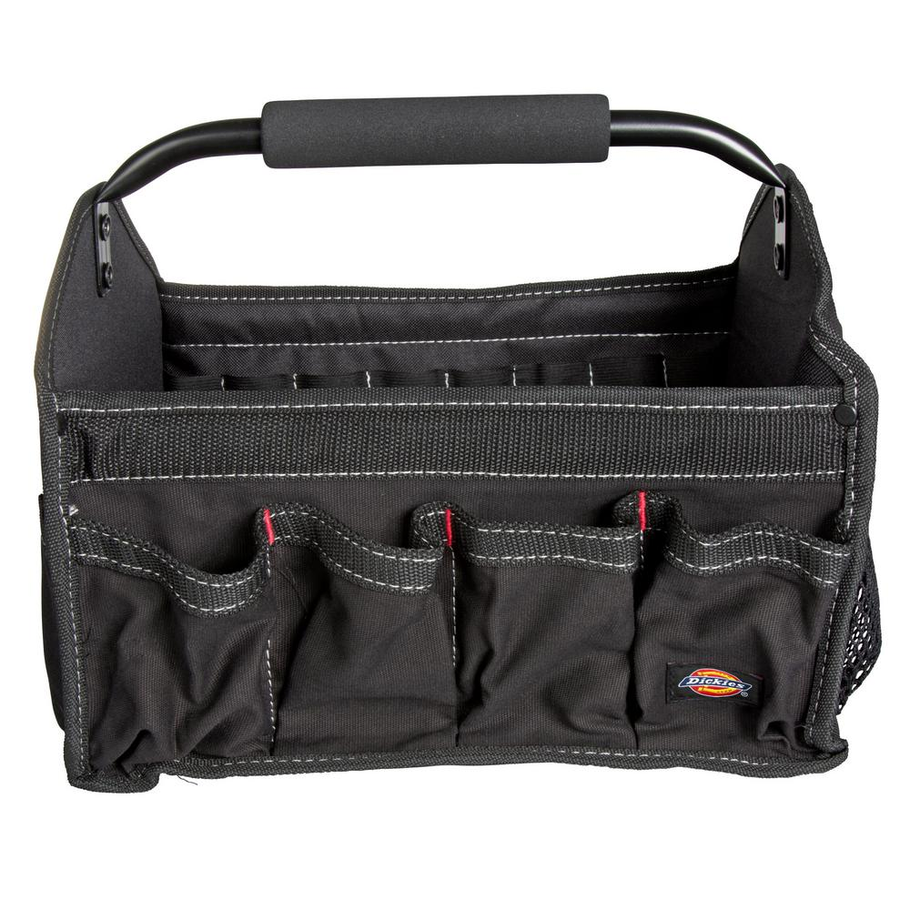 Dickies 12 in. Soft Sided Construction Work Bin Tool Tote with Padded Steel Handle in Black
