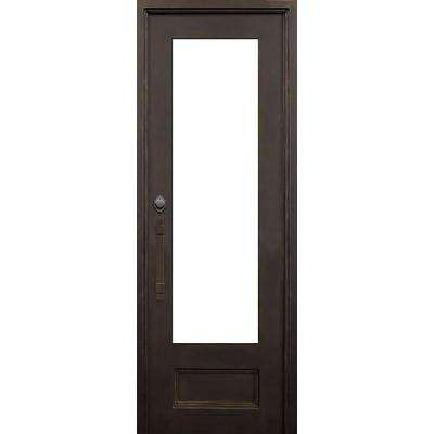 40 in. x 96 in. Marco Island Dark Bronze Classic 3/4 Lite Painted Wrought Iron Prehung Front Door (Hardware Included)