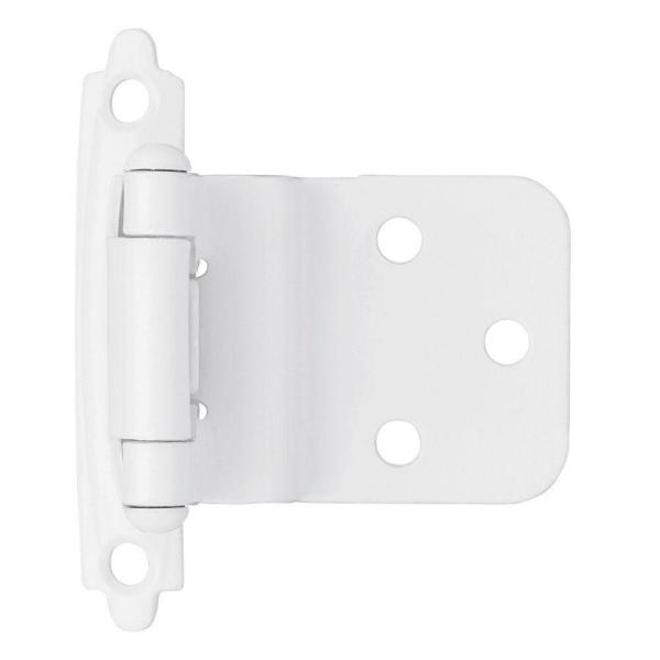 White Self-Closing 3/8 in. Inset Cabinet Hinge (1-Pair)