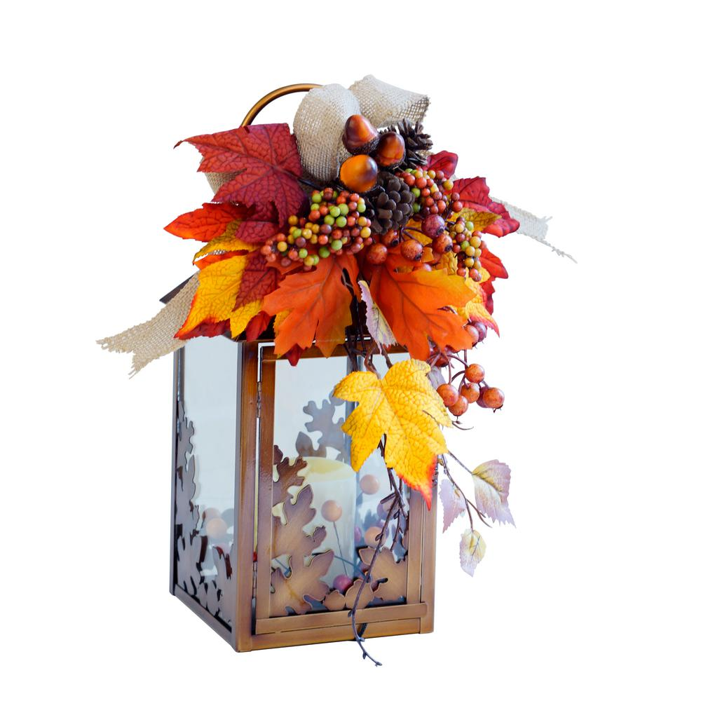 13 in. Small Harvest Lantern with LED Candle