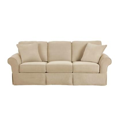 Hillbrook Essence Tan Straight Slipcovered Sofa (87.5 in. W x 36.5 in. H)
