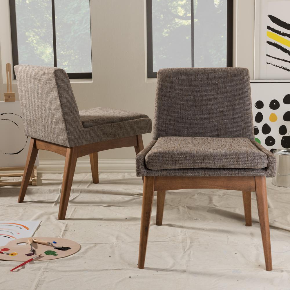 Baxton Studio Nexus Gray Fabric Upholstered Dining Chairs (Set of 2)