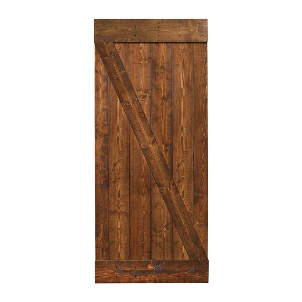 Walnut Stain Knotty Pine Sliding Interior Barn Door