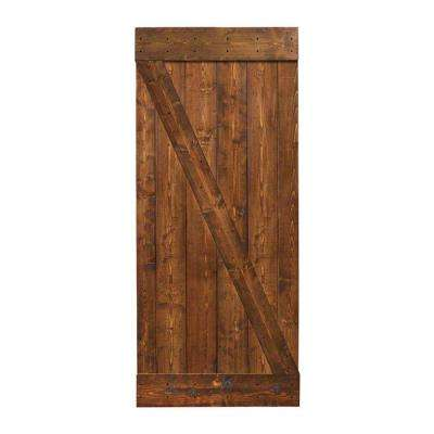 Walnut Stain Knotty Pine Sliding Interior Barn Door Slab