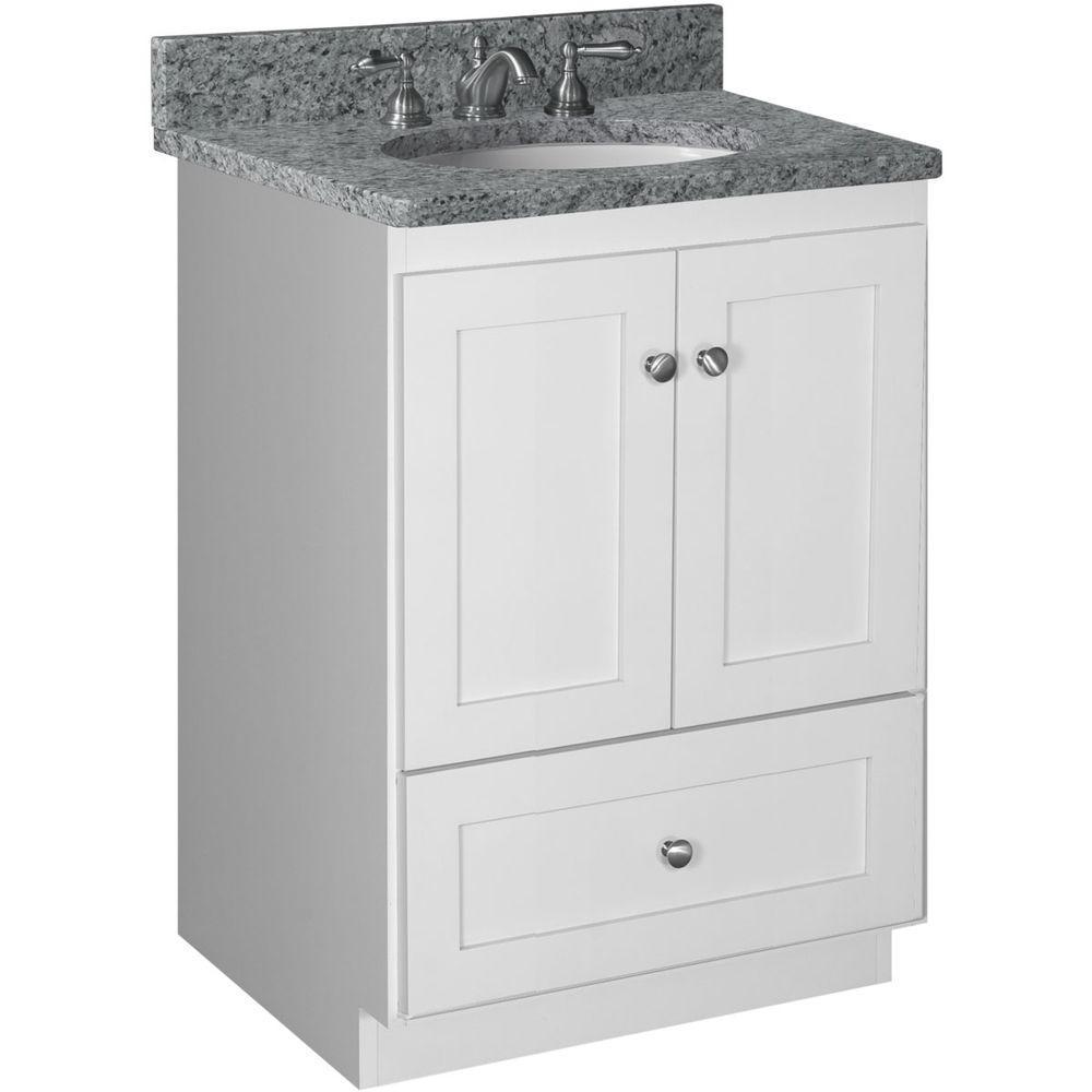 Shaker 24 in. W x 21 in. D x 34.5 in. H Vanity Cabinet Only in Satin White