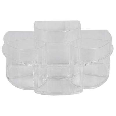 Half Moon Shatter-Resistant Plastic Cosmetic Organizer in Clear