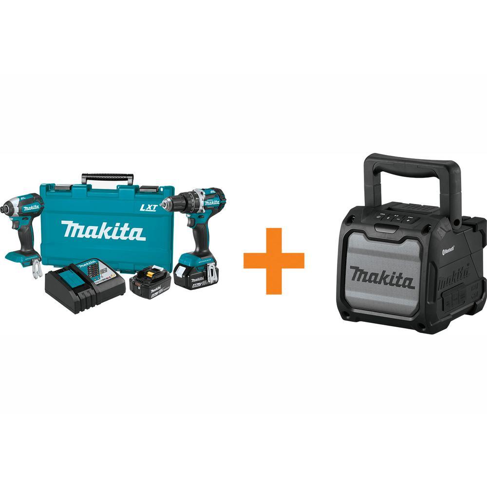 Makita 18-Volt LXT Brushless Cordless Hammer Drill and Impact Driver Combo Kit with Bonus Cordless Bluetooth Job Site Speaker